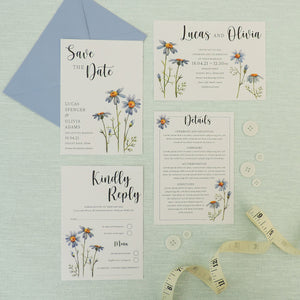 Blue Daisies Wedding Invitations