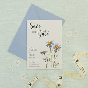 Blue Daisies Save The Date