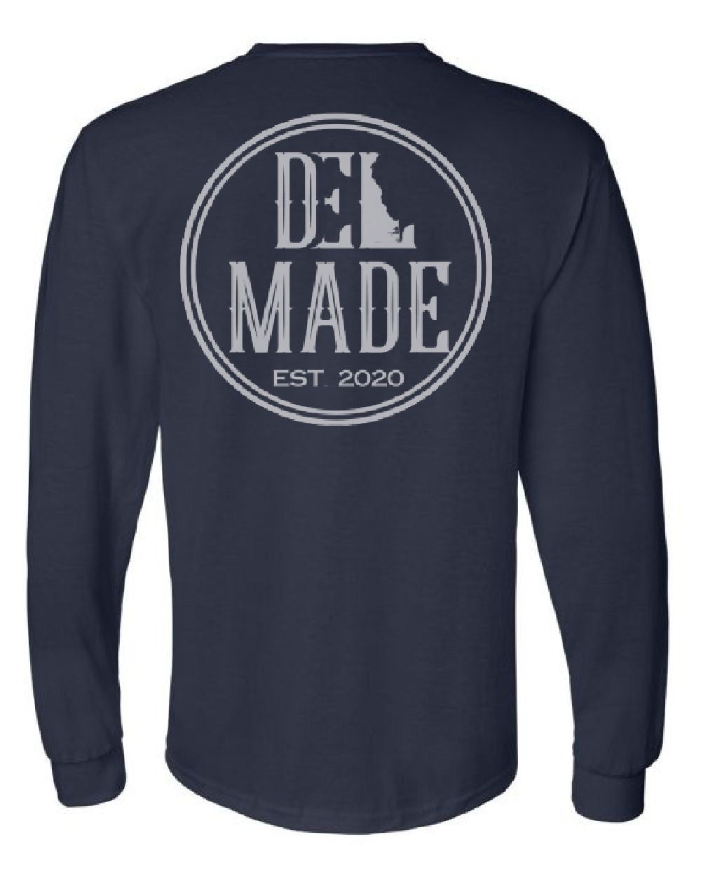 DEL Made L/S- Navy Front/Back Logo