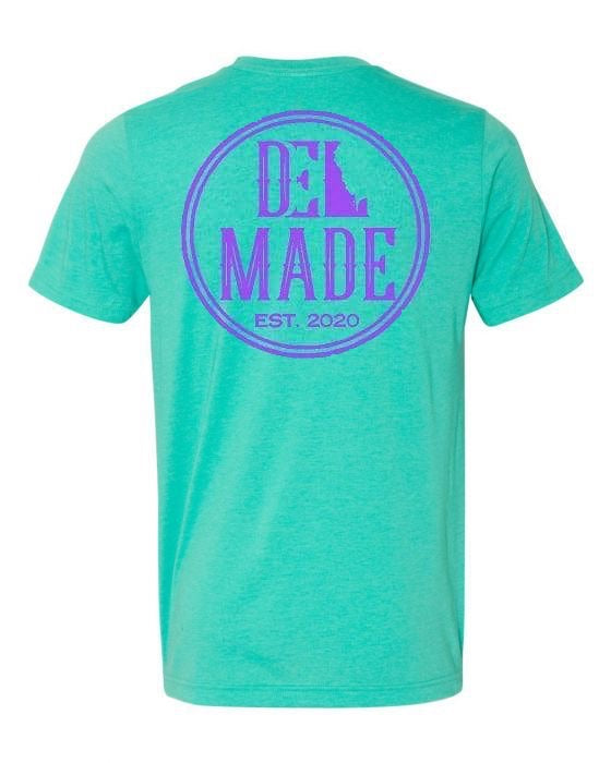 DEL Made S/S Heather Seafoam Green Front/Purple Back Logo