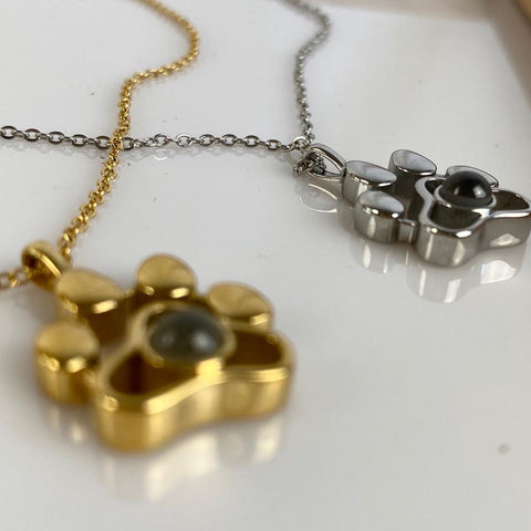Gold And Silver Pet Paw Print Photo Necklaces