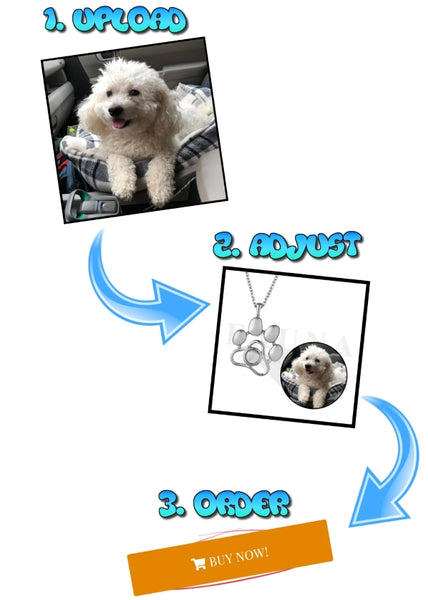 Image Upload Instructions Pet Photo Paw Necklace