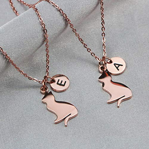 Stainless Steel Cat Initial Necklace