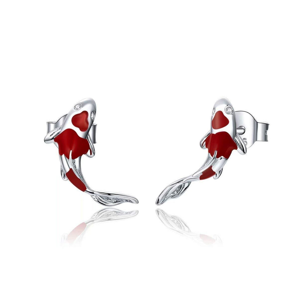 Sterling Silver Koi Fish Earrings
