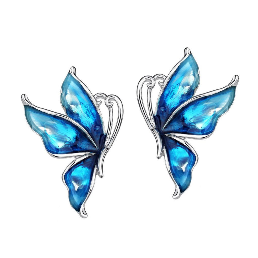 Platinum Plated Butterfly Earrings