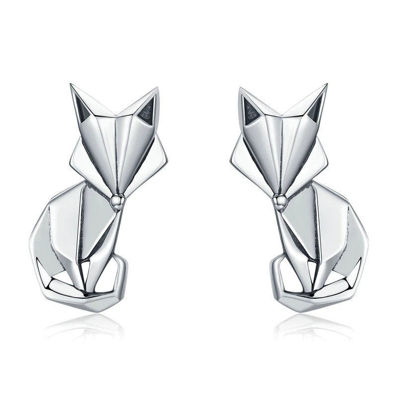 Sterling Silver Origami Fox Earrings