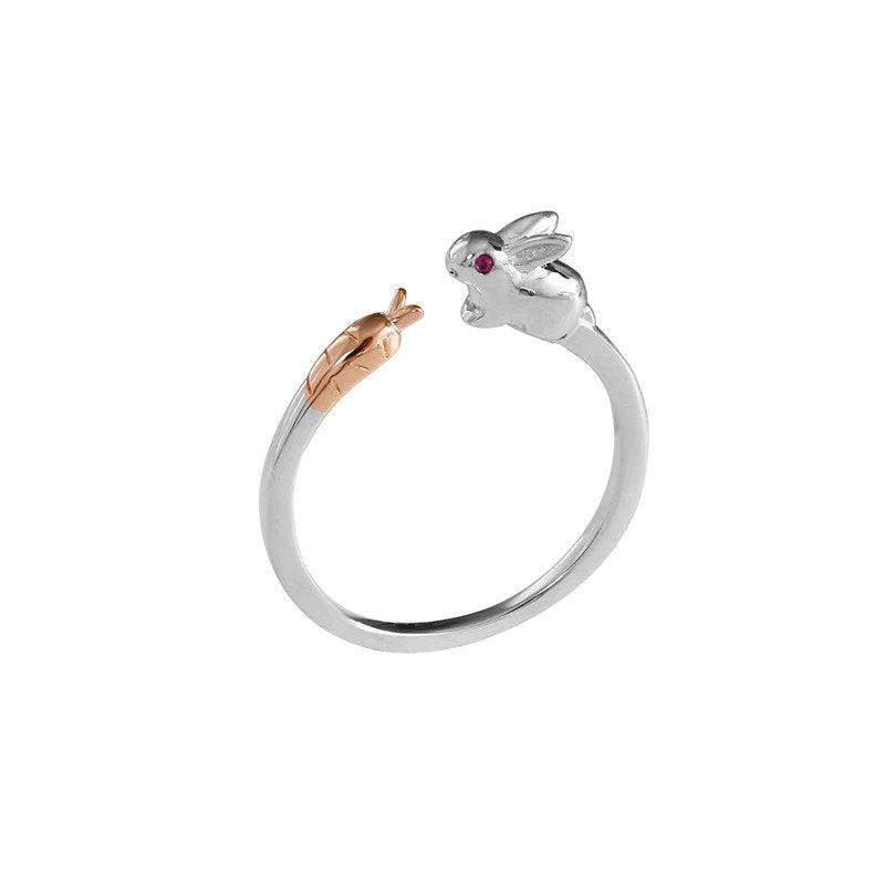 Sterling Silver Rabbit & Carrot Ring