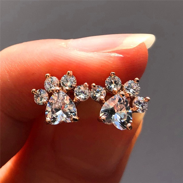 Opal & Cubic Zirconia Paw Earrings