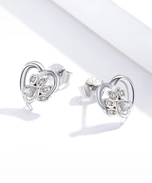 Cubic Zirconia Heart Paw Earrings