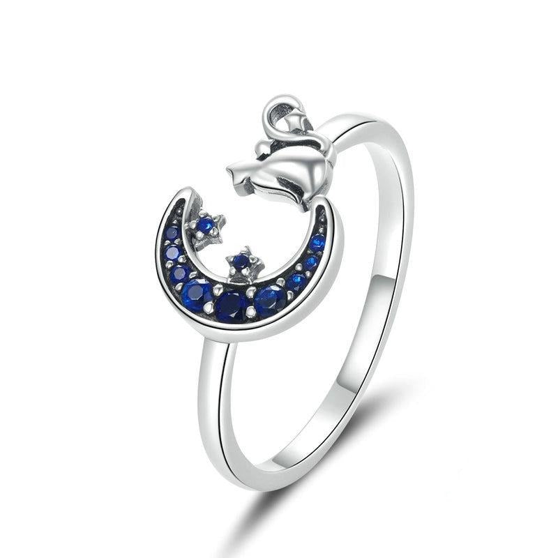 Sterling Silver Midnight Moon & Stars Cat Ring