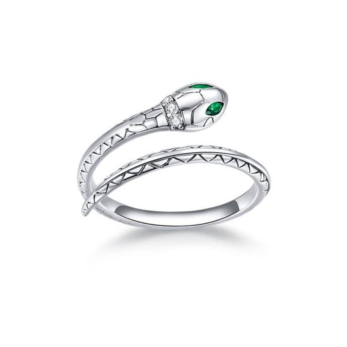 Sterling Silver Green-Eyed Snake Ring
