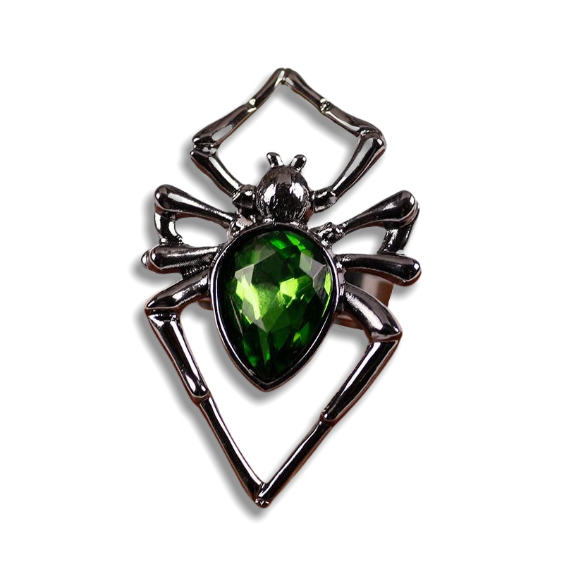 Green Rhinestone Spider Ring