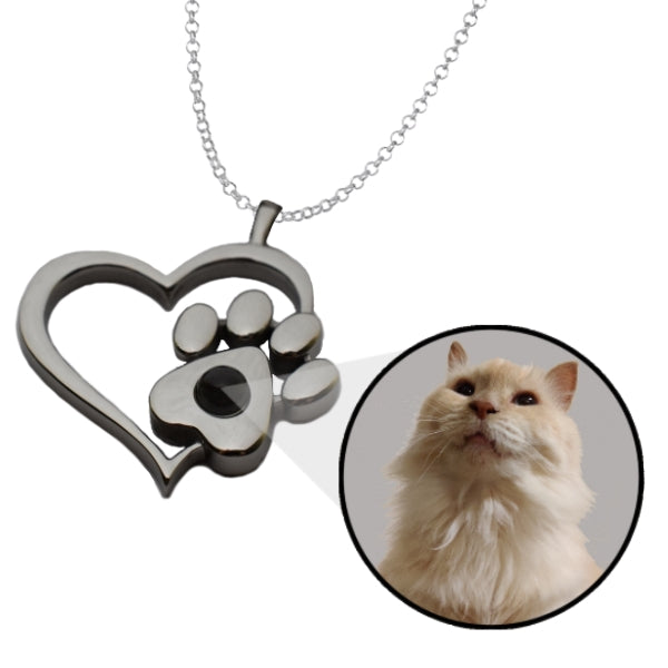 Personalized Heart Paw Charm