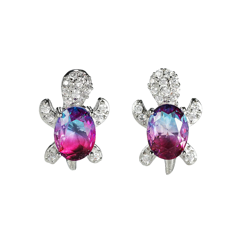 Cubic Zirconia Turtle Earrings