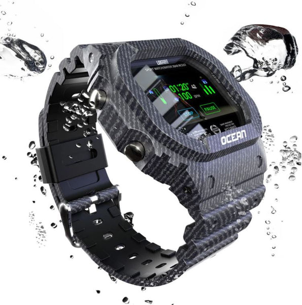Super cool denim lava camo IP68 health tracking smart watch