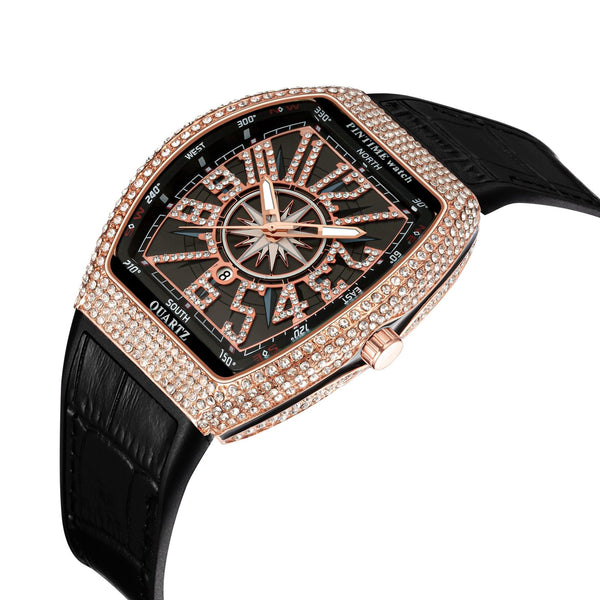 Singulier Watches - Hip Hop - A glamorous piece of wrist candy. Curved case decorated with sparkling loop diamonds, mineral glass window and silicone leather-lookalike watchband. A very comfortable timepiece to wear.