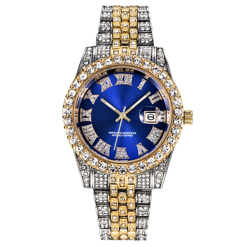 Singulier watches - Baller - Iced out classic timepiece available in several loud variants. Stainless steel case and bracelet, decorated with sparkling loop diamonds. Water- and champagne resistant, calendar with auto date.  - A fun watch!  ALLICEONYOU New Gold Silver Color Cubic Zirconia Watches Hip Hop Fashion High Quality Diamond Bracelet Stainless Steel For Gift