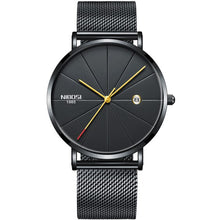 Load image into Gallery viewer, Ultra-thin unisex watch. Elegant, clean and minimalistic. Date display and standard water resistance. Movement: QUARTZ Water Resistance Depth: 3Bar Case Material: Stainless Steel Band Material Type: Stainless Steel Clasp Type: Hook Buckle Dial Window Material Type: Hardlex, Mineral Glass Dial Diameter: 40mm Band Length: 22.4cm/8.8inch Case Thickness: 6.5mm Band Width: 20mm Item Weight: 60g Features: Ultra Thin Design, Waterproof, Calendar Date. Singulier watches