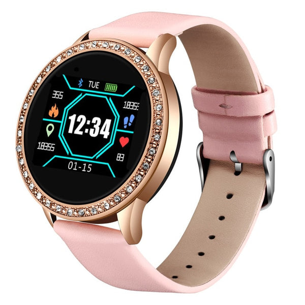 "A watch for the modern woman. This elegant timepiece will help you organize your weekdays and keep you updated with important information right on your wrist, at the same time as, and even more important, tracking your health status and reminding you when to take five. On the outside this beautiful watch has a 1"" 240 x 240 pixels TFT touch screen and the watchband is made from stainless mesh steel. However, it's on the inside the magic happens. This gorgeous thing is packed with health features."