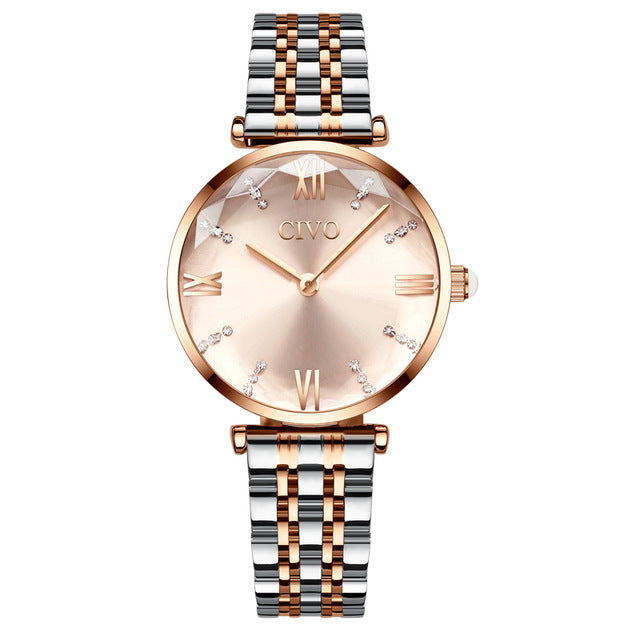Elegant feminine jewelry for any occasion.   Movement: QUARTZ Water Resistance Depth: 3Bar Case Material: Alloy Band Material Type: Stainless Steel Dial Window Material Type: Hardlex Clasp Type: Push Button Hidden Clasp Dial Diameter: 32mm Case Thickness: 9mm Band Width: 14mm Band Length: 17cm Features: Water Resistant, Shock Resistant. Singulier watches