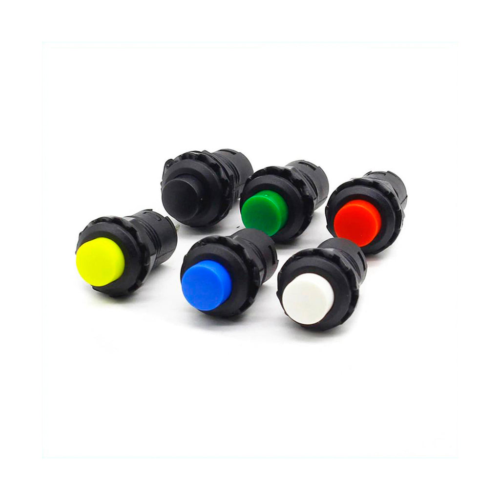 12mm 0.110 Terminal Push Button 6 Colors Latching