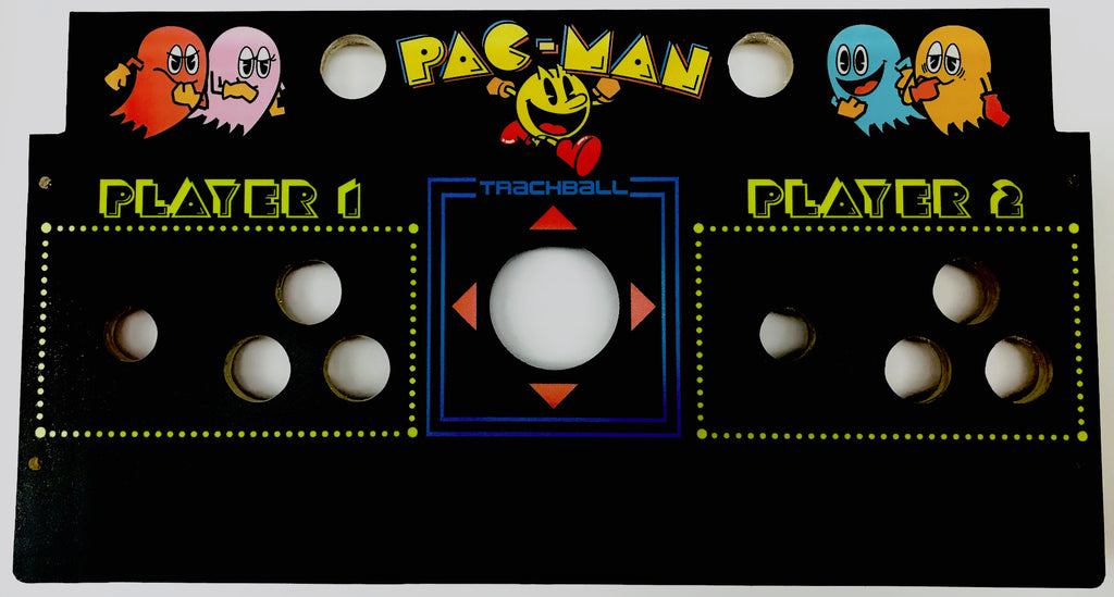 Skinned Pac Man 2 Player With Trackball Replacement Control Deck for Arcade1Up