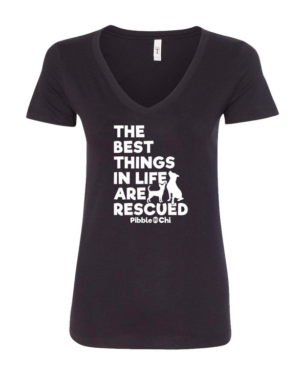 The Best Things in Life Are Rescued | 60/40 | Women's V-Neck