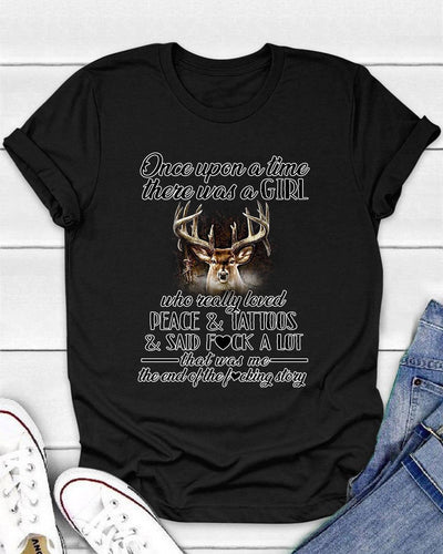Once Upon A Time There Was A Girl Who Really Loved Hunting And Tattoos Shirts - Bewished Online clothing shop