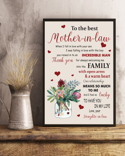 To The Best Mother In Law Poster - Bewished Online clothing shop