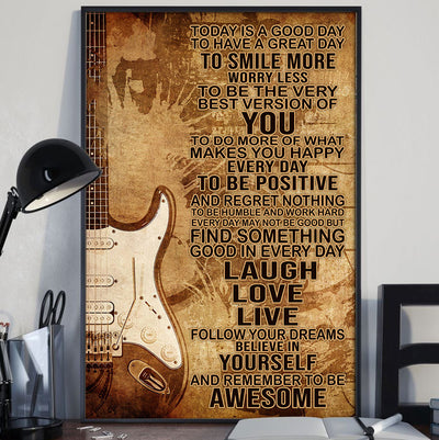 Beautiful To Day Is A Good Day With Electric Guitar Poster - Bewished Online clothing shop
