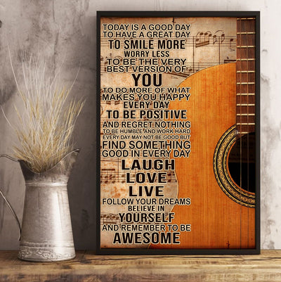 Beautiful To Day Is A Good Day With Guitar Poster - Bewished Online clothing shop
