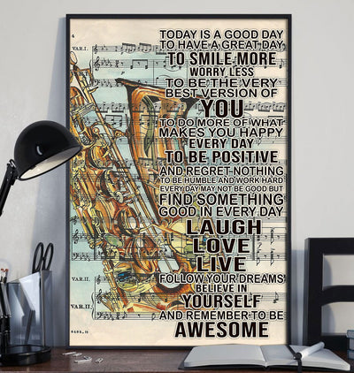 Beautiful To Day Is A Good Day With Saxophone Poster - Bewished Online clothing shop