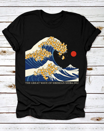 The Great Wave Of Seberian Shiba-inu Shirts - Bewished Online clothing shop