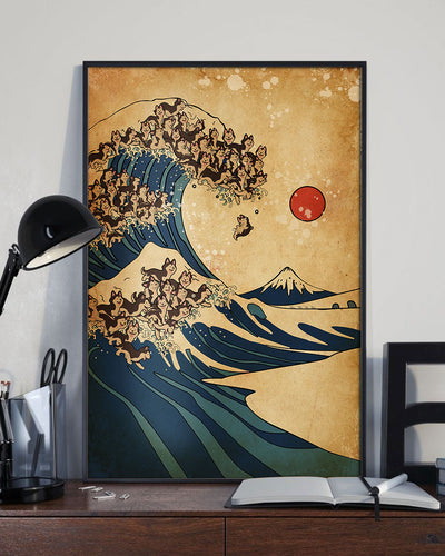 The Great Wave Off Seberian Husky Poster - Bewished Online clothing shop