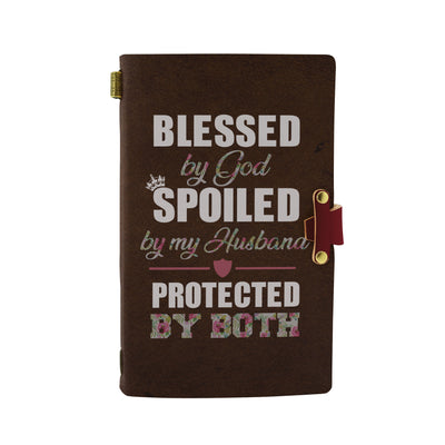 Blessed by God Spoiled by My Husband Protected By Both Handmade Leather Notebook - Bewished Online clothing shop
