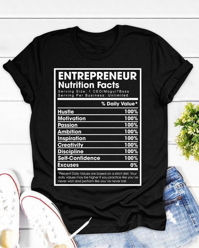 Entrepreneur Nutrition Facts Shirts - Bewished Online clothing shop