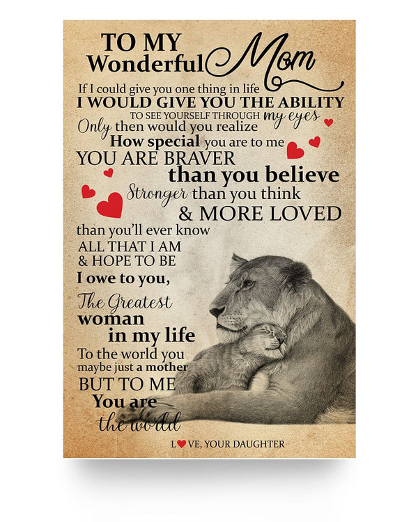 To My Wonderful Mom Lion Poster