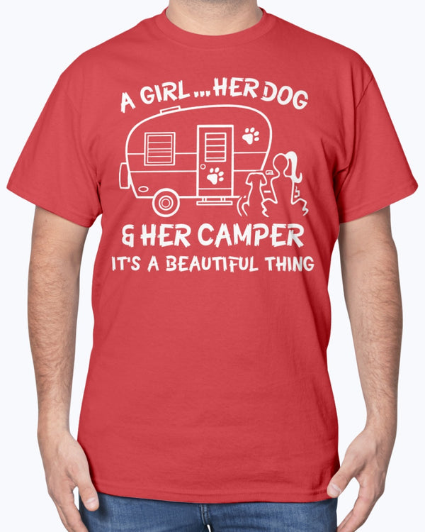 A Girl Her Dog Her Camper It's A Beautiful Thing Shirts