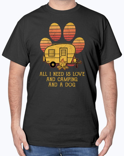 All I Need Is Love And Camping And A Dog Shirts - Bewished Online clothing shop