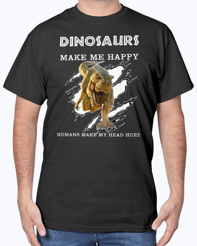 Dinosaurs Make Me Happy Shirts. Humans Make My Head Hurts Shirts - Bewished Online clothing shop