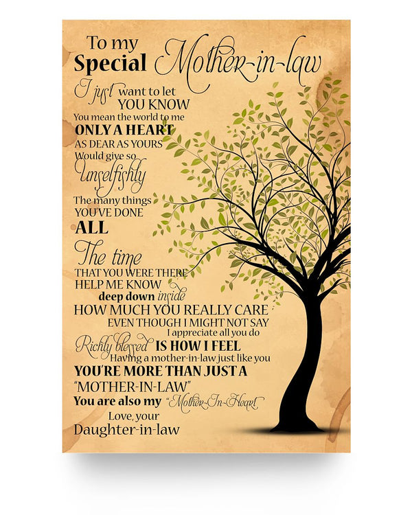 To My Special Mother In Law Poster