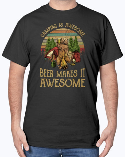 Camping Is Awesome Beer Makes It Awesome Shirts - Bewished Online clothing shop