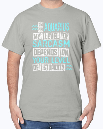 I'm An Aquarius My Level Of Sarcasm Depends On Your Level Of Stupidity Shirts - Bewished Online clothing shop