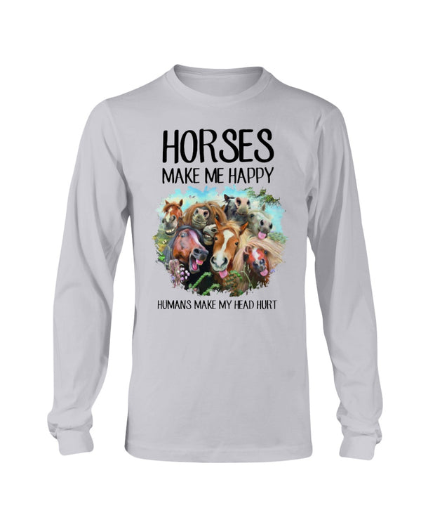 Horses Make Me Happy Humans Make My Head Hurt Shirts - Bewished Online clothing shop