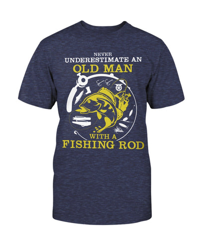 Never Underestimate An Old Man With A Fishing Rod Shirts - Bewished Online clothing shop