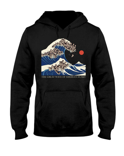 The Great Wave Of Seberian Husky T-Shirt - Bewished Online clothing shop
