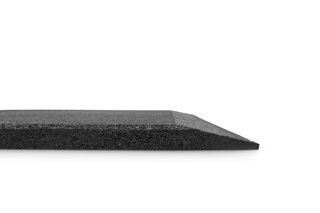 Bulldog Black 1m x 1m x 20mm Thick Rubber Gym Tiles with Ramp