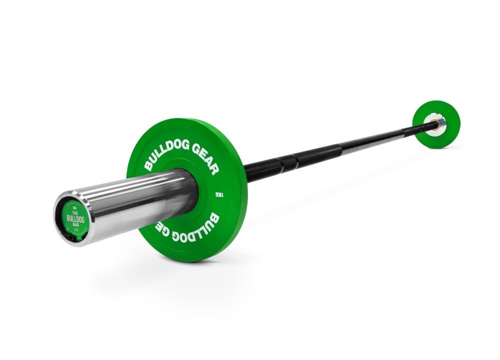 Bulldog Gear 10kg junior barbell loaded with 1kg fractional plates