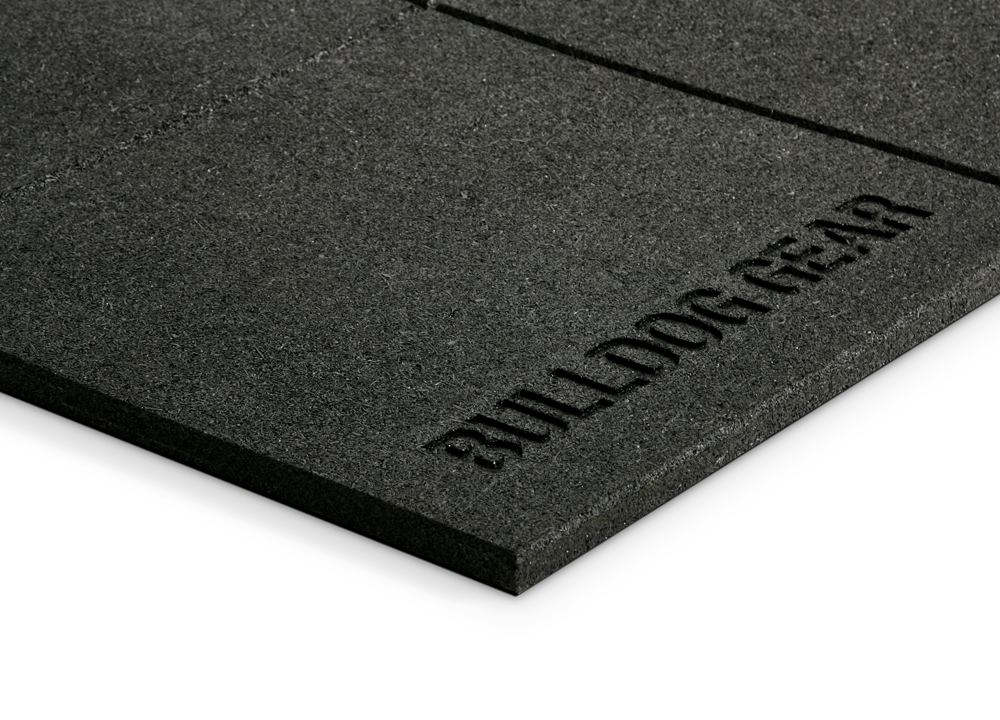 Bulldog Black 1m x 1m x 30mm Thick Rubber Gym Tiles
