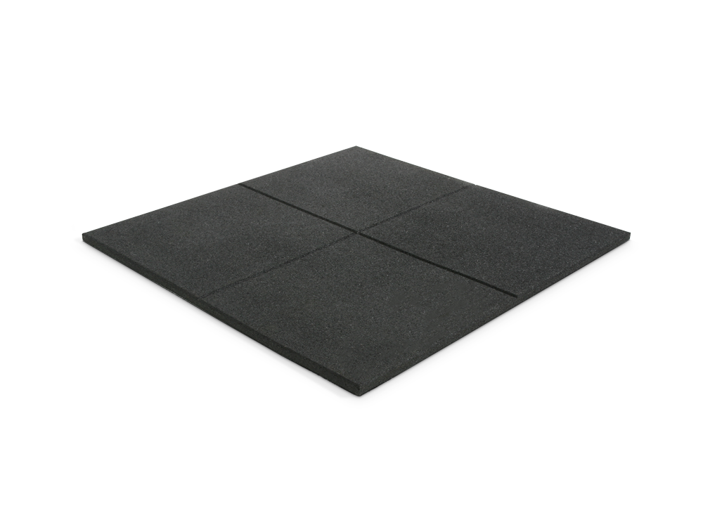 Bulldog Black 1m x 1m x 20mm Thick Rubber Gym Tiles - No branding